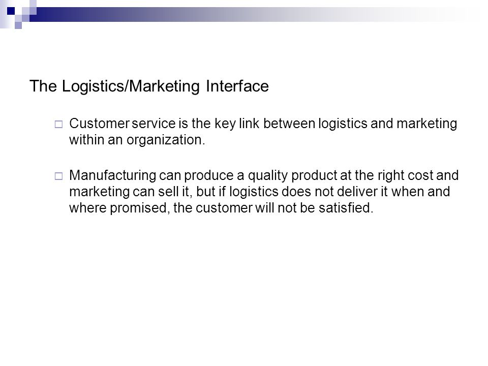 The Logistics/Marketing Interface