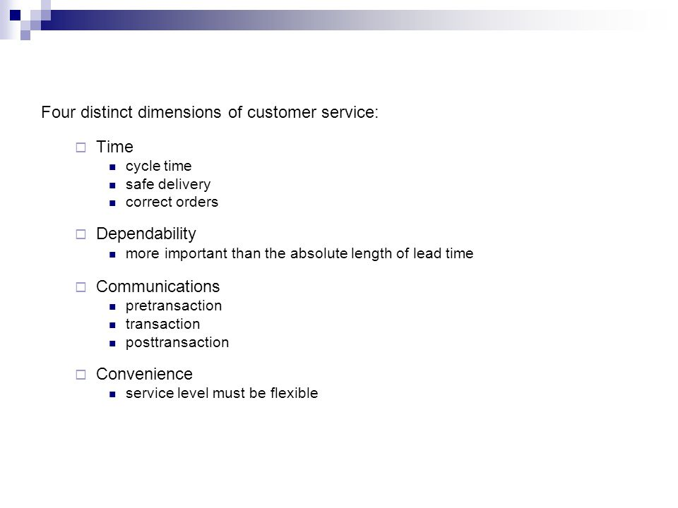 Four distinct dimensions of customer service: Time