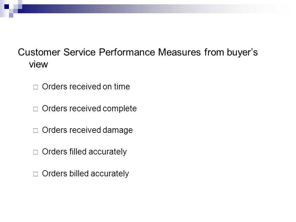 Customer Service Performance Measures from buyer's view