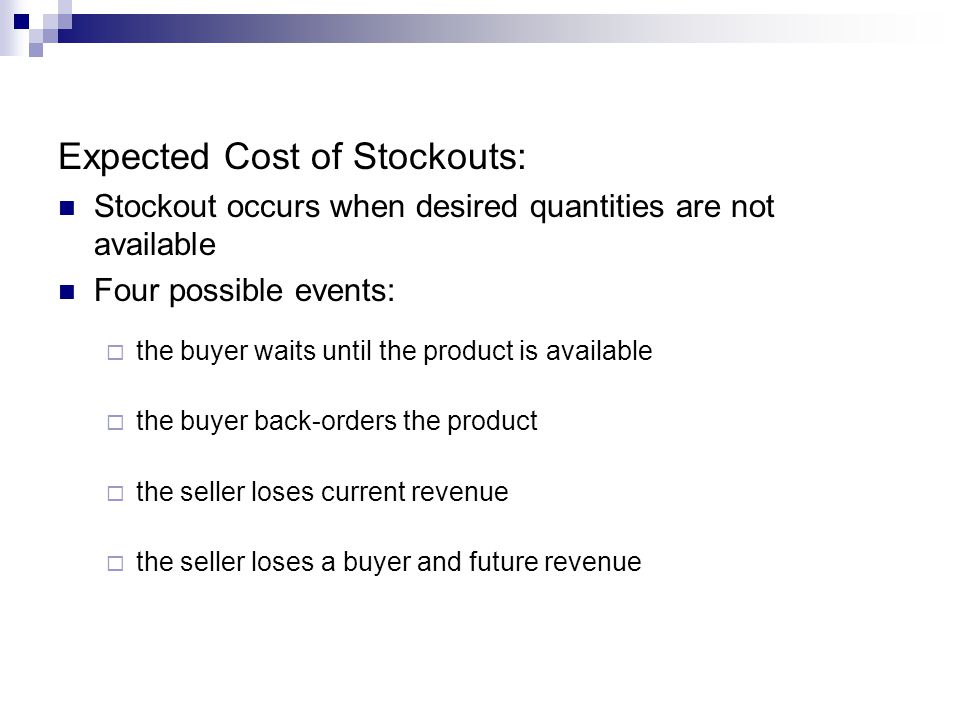 Expected Cost of Stockouts: