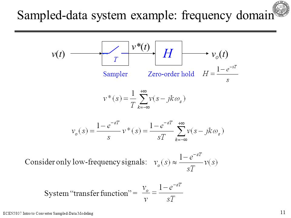 Sampled-data system example: frequency domain