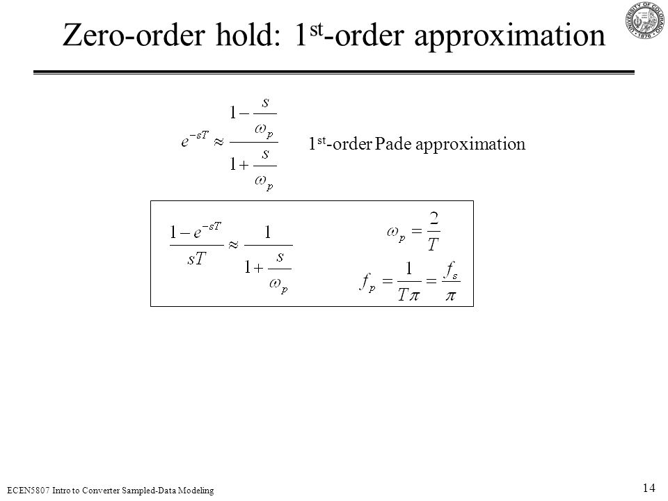 Zero-order hold: 1st-order approximation