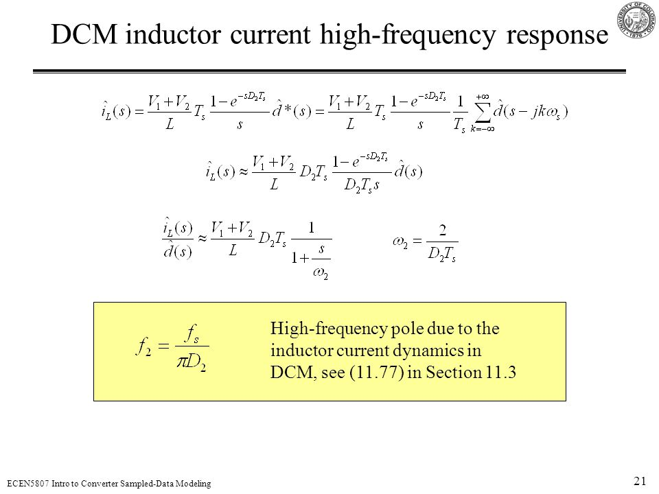 DCM inductor current high-frequency response