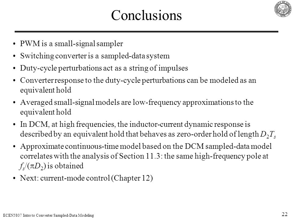 Conclusions PWM is a small-signal sampler