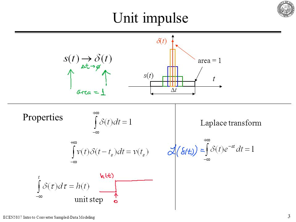 Unit impulse Properties t Laplace transform unit step d(t) area = 1