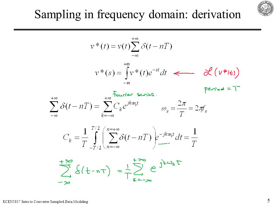 Sampling in frequency domain: derivation