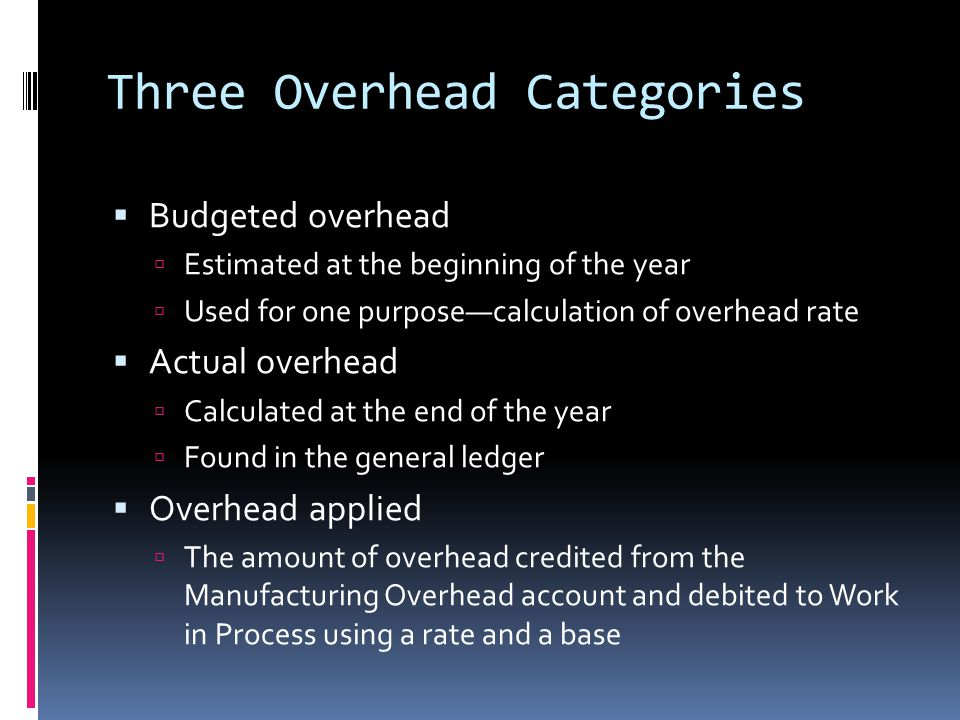 Three Overhead Categories