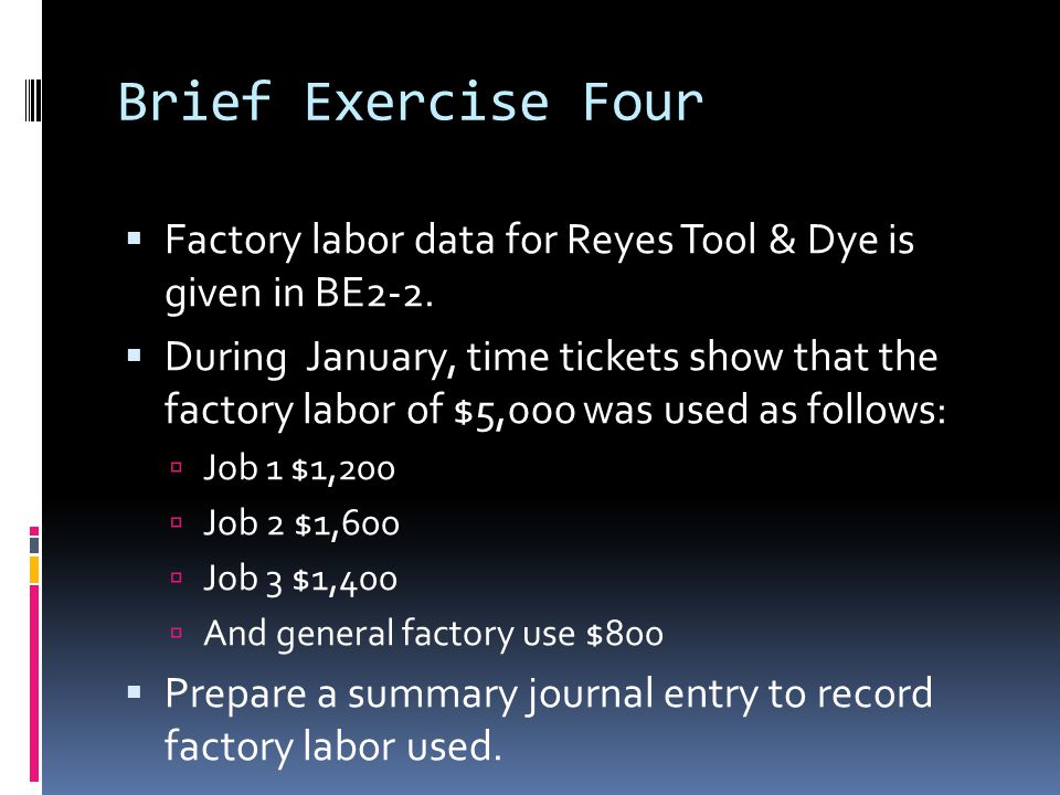 Brief Exercise Four Factory labor data for Reyes Tool & Dye is given in BE2-2.
