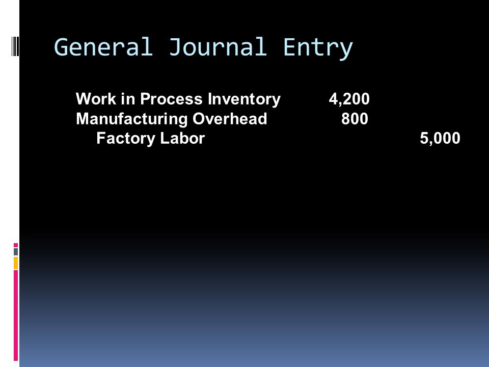 General Journal Entry Work in Process Inventory 4,200