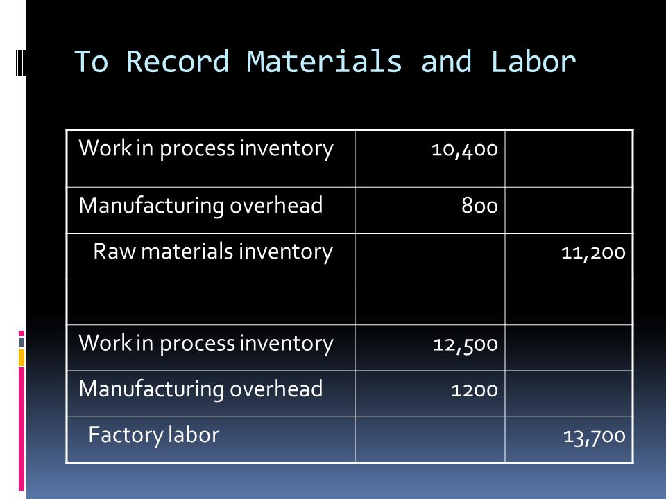 To Record Materials and Labor