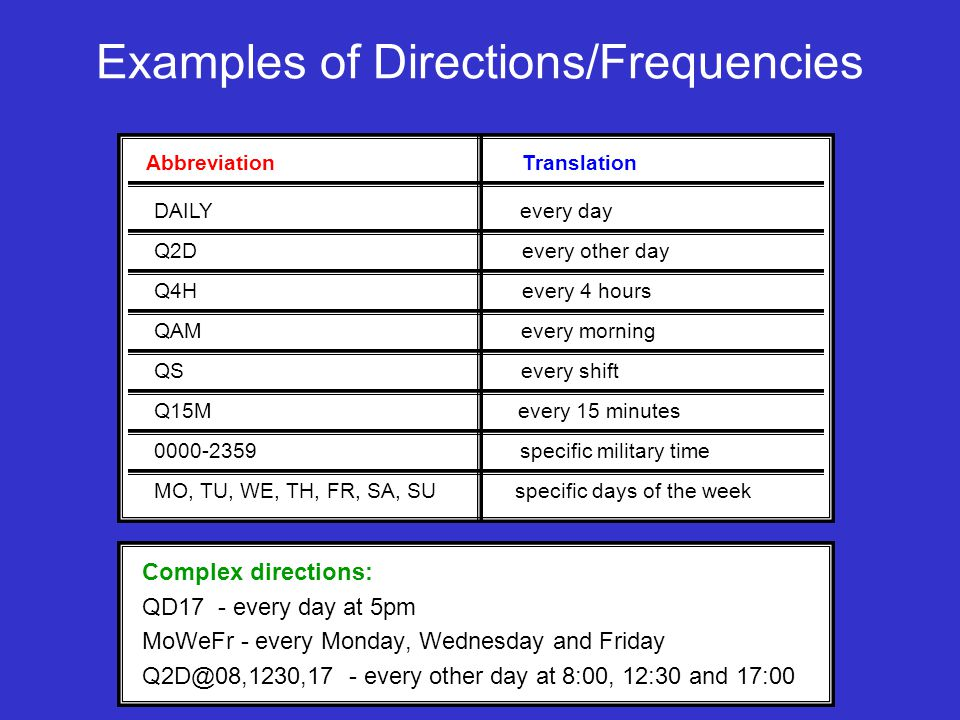 Examples of Directions/Frequencies