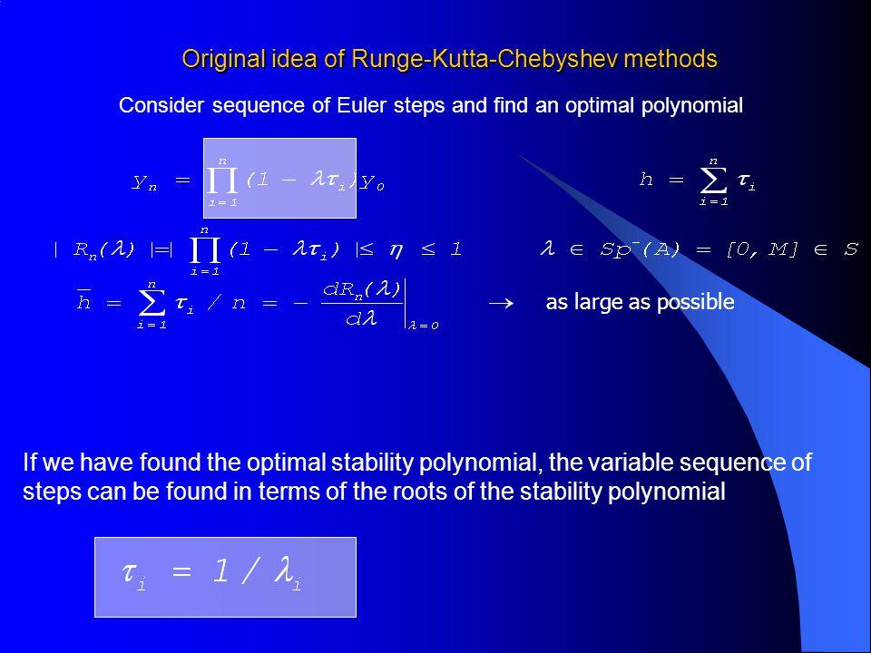 Original idea of Runge-Kutta-Chebyshev methods