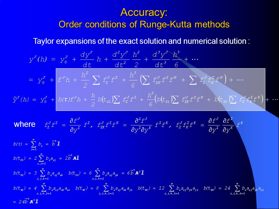 Accuracy: Order conditions of Runge-Kutta methods