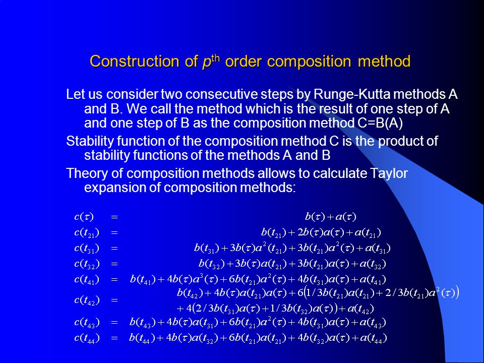Construction of pth order composition method