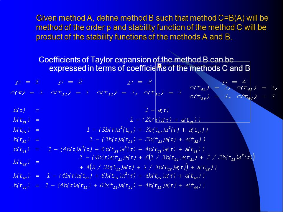 Given method A, define method B such that method C=B(A) will be method of the order p and stability function of the method C will be product of the stability functions of the methods A and B.