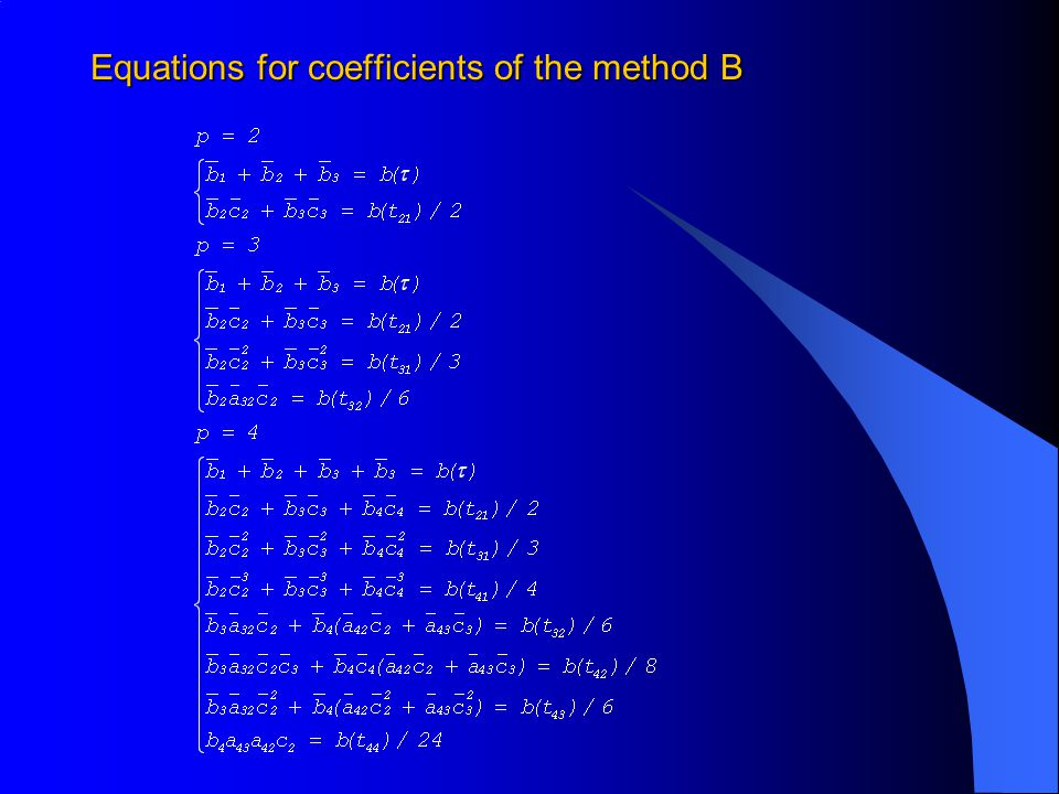 Equations for coefficients of the method B