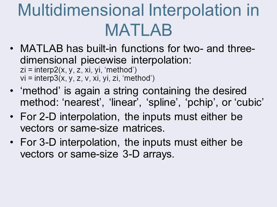 Multidimensional Interpolation in MATLAB