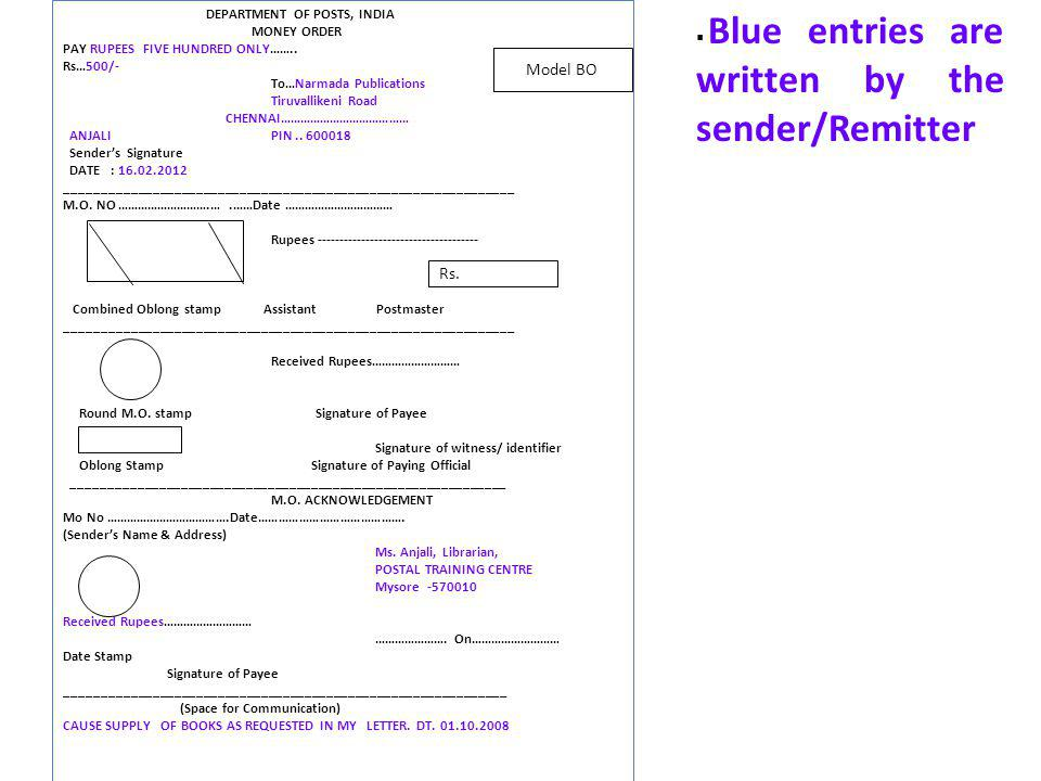Blue entries are written by the sender/Remitter