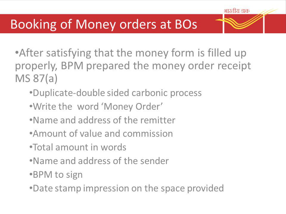 Booking of Money orders at BOs