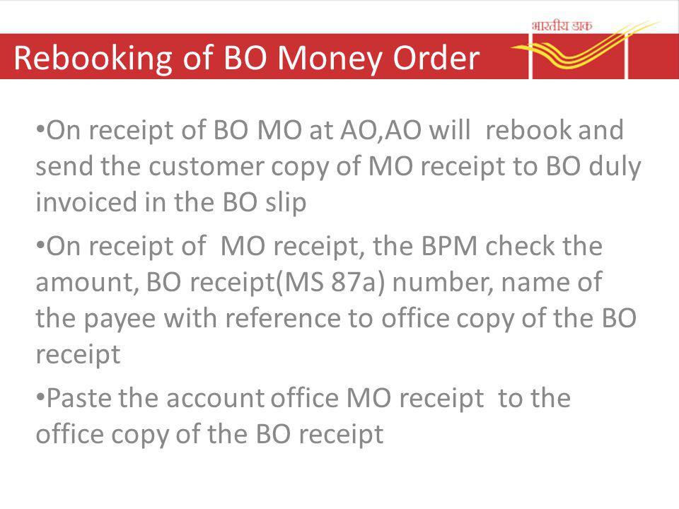 Rebooking of BO Money Order
