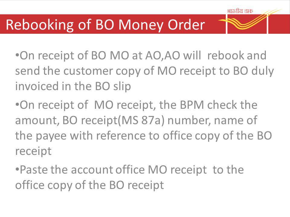 Rebooking of BO Money Order