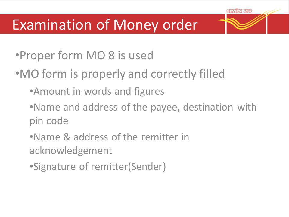 Examination of Money order