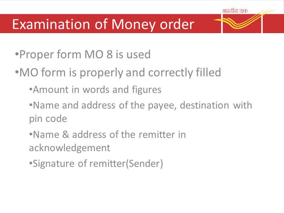 Examination of Money order
