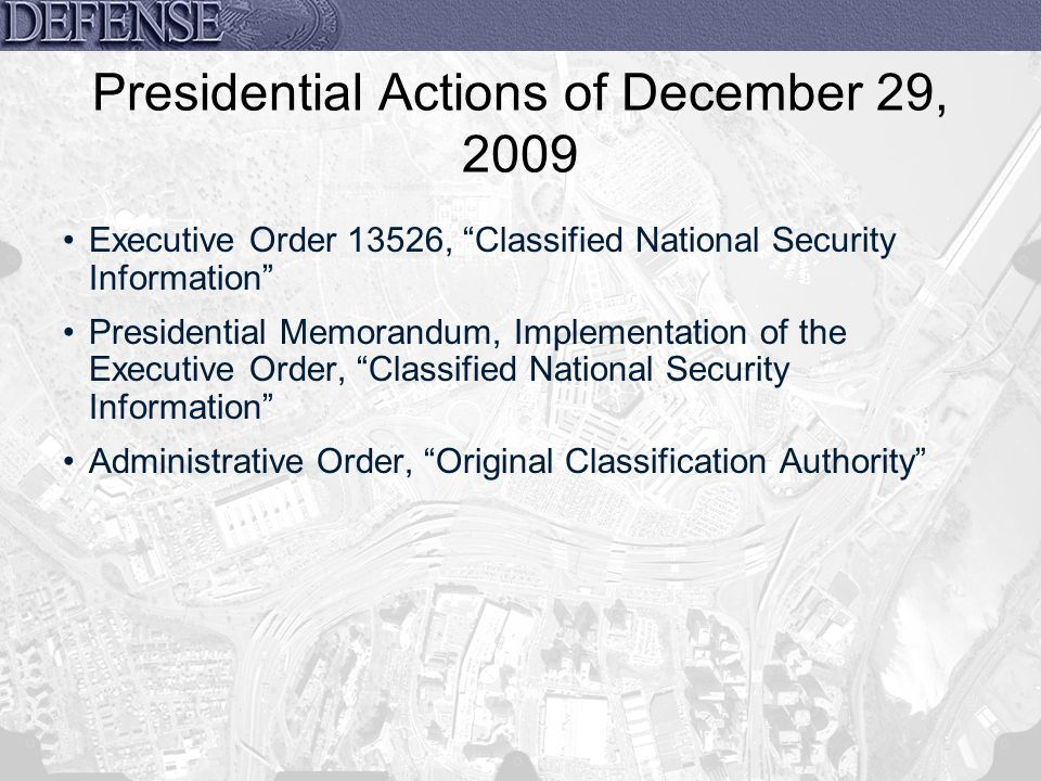 Presidential Actions of December 29, 2009