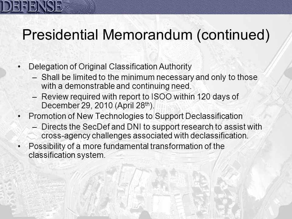 Presidential Memorandum (continued)