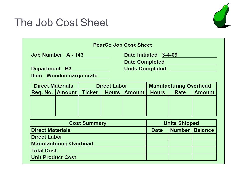 The Job Cost Sheet PearCo Job Cost Sheet Job Number A - 143