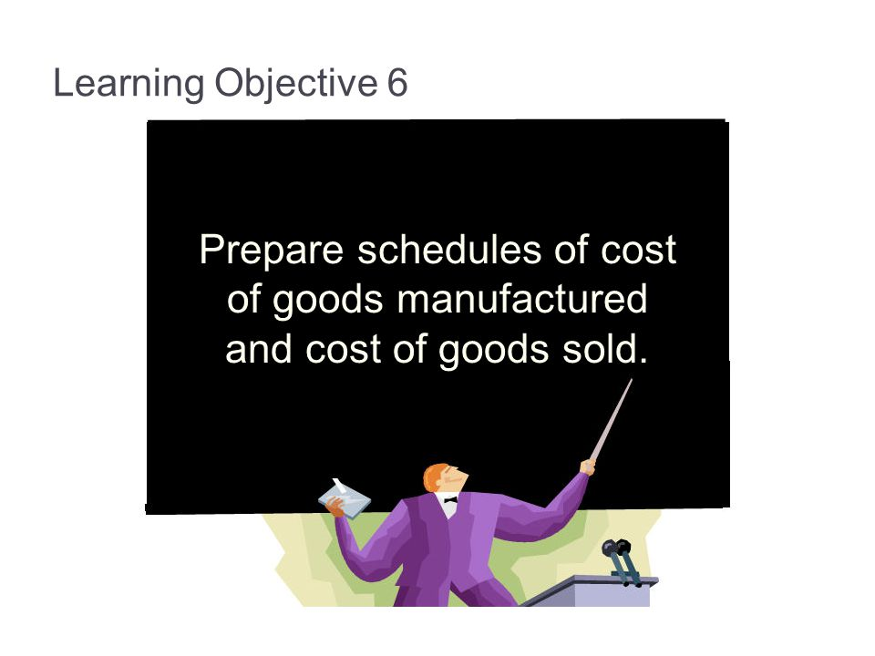 Learning Objective 6 Prepare schedules of cost of goods manufactured and cost of goods sold.