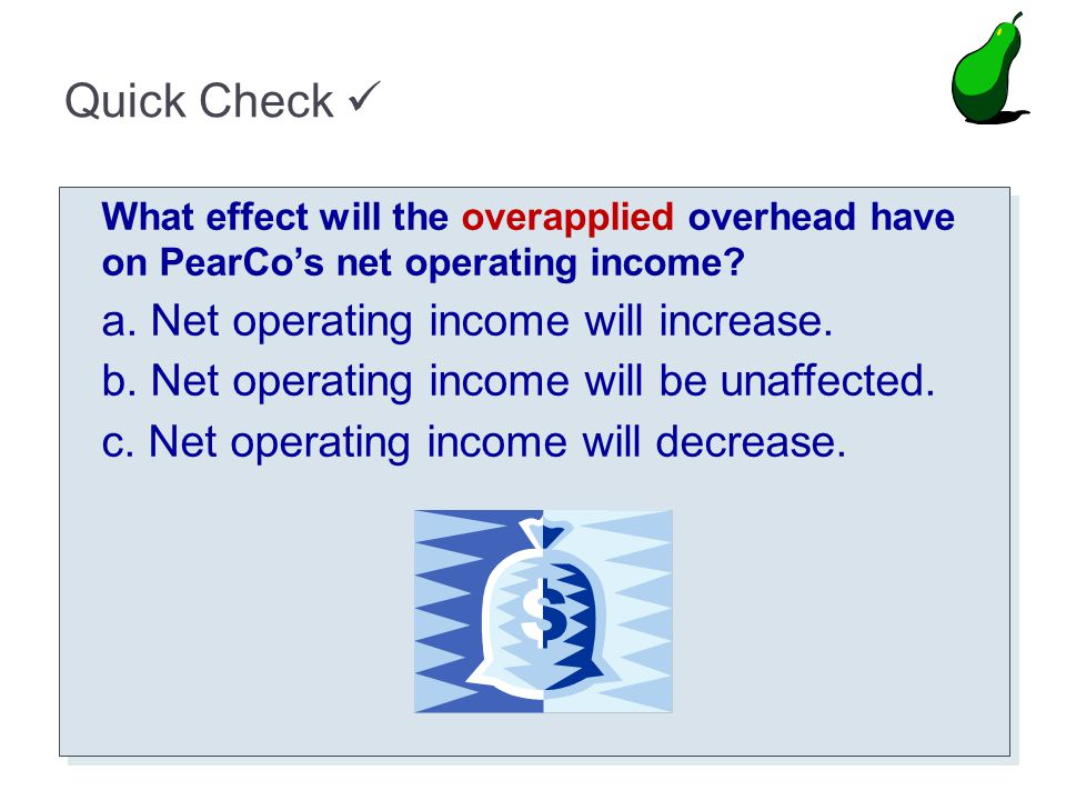 Quick Check  a. Net operating income will increase.