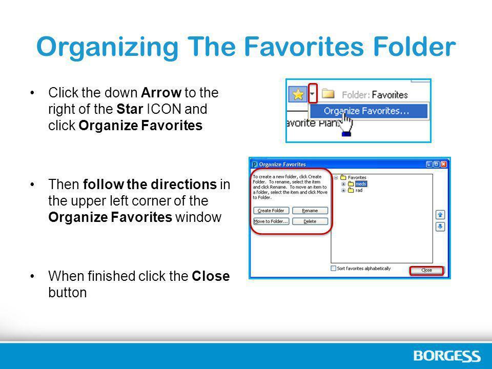Organizing The Favorites Folder