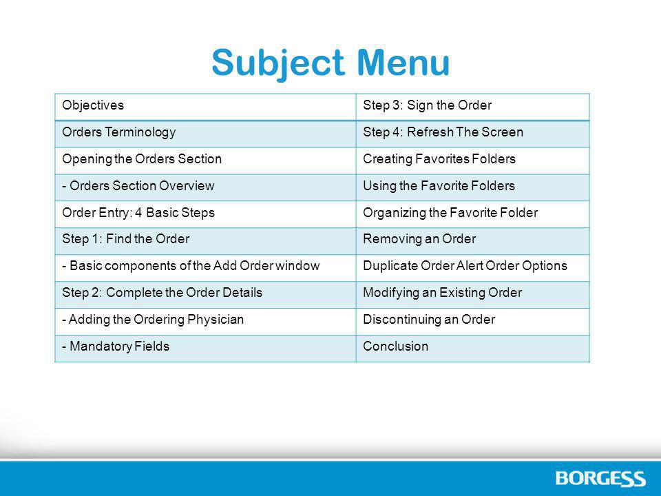 Subject Menu Objectives Step 3: Sign the Order Orders Terminology