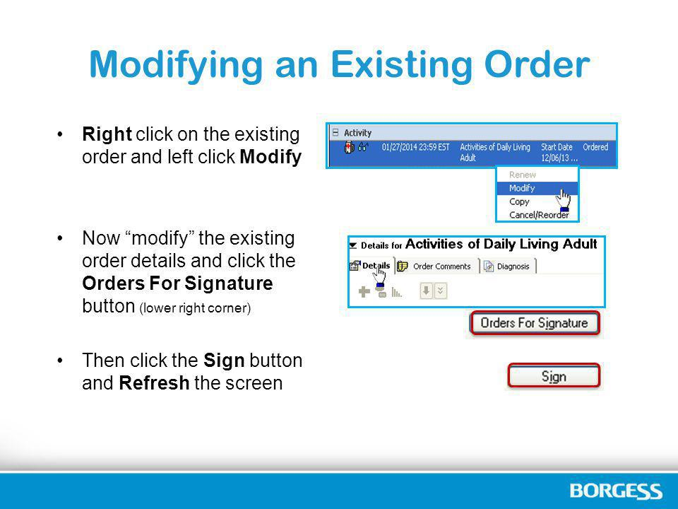 Modifying an Existing Order