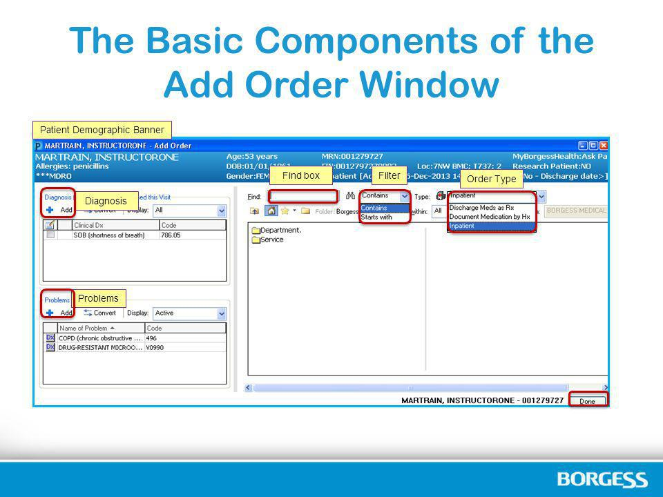 The Basic Components of the Add Order Window