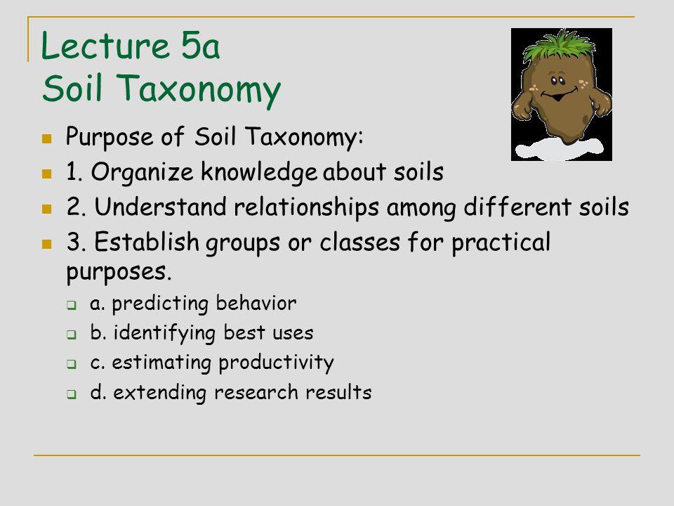 Lecture 5a Soil Taxonomy