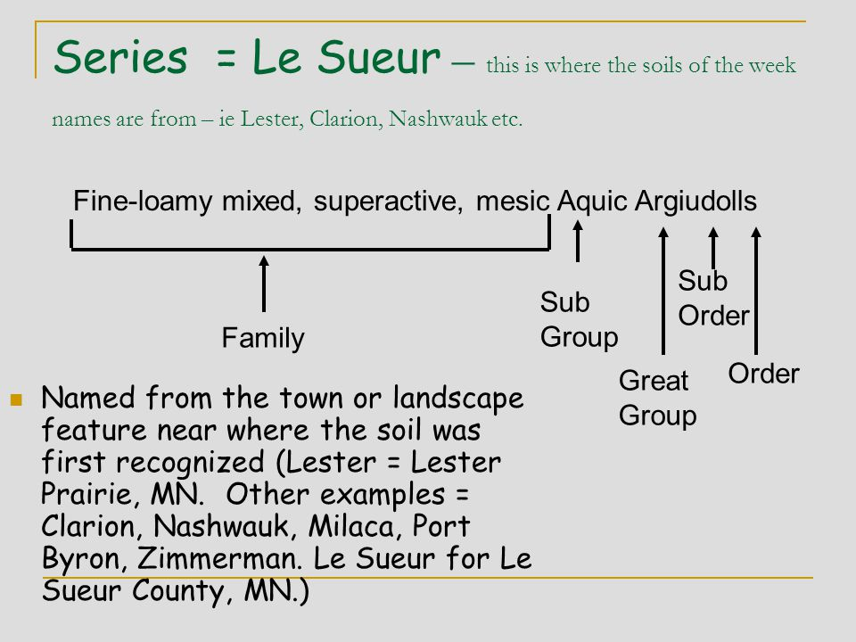 Series = Le Sueur – this is where the soils of the week names are from – ie Lester, Clarion, Nashwauk etc.