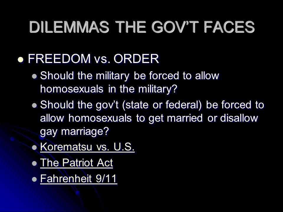 DILEMMAS THE GOV'T FACES