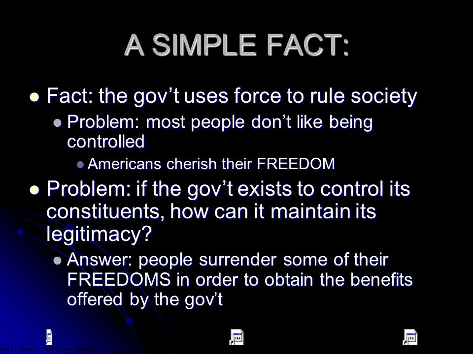 A SIMPLE FACT: Fact: the gov't uses force to rule society