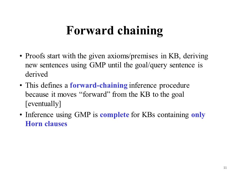 Forward chaining Proofs start with the given axioms/premises in KB, deriving new sentences using GMP until the goal/query sentence is derived.