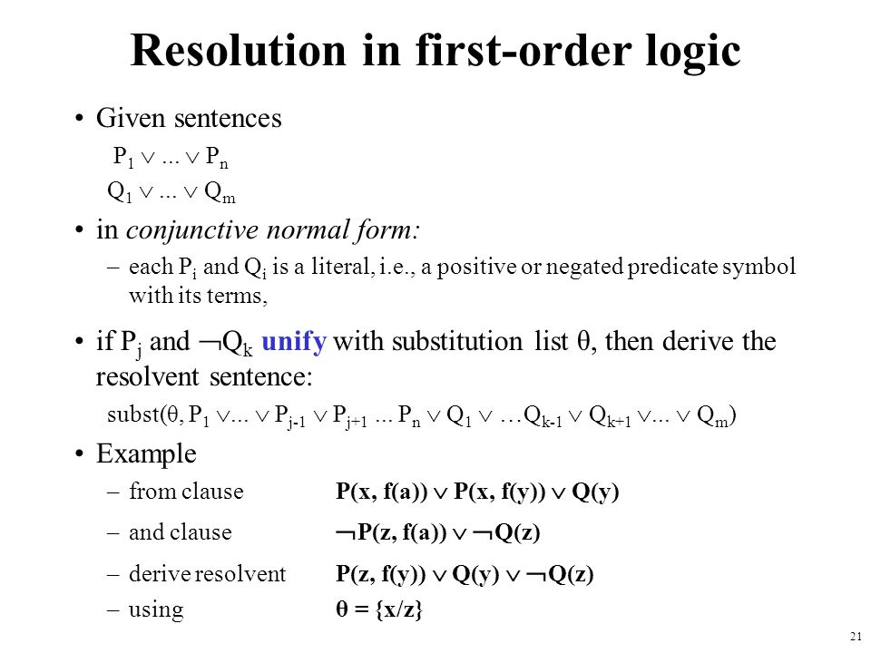 Resolution in first-order logic