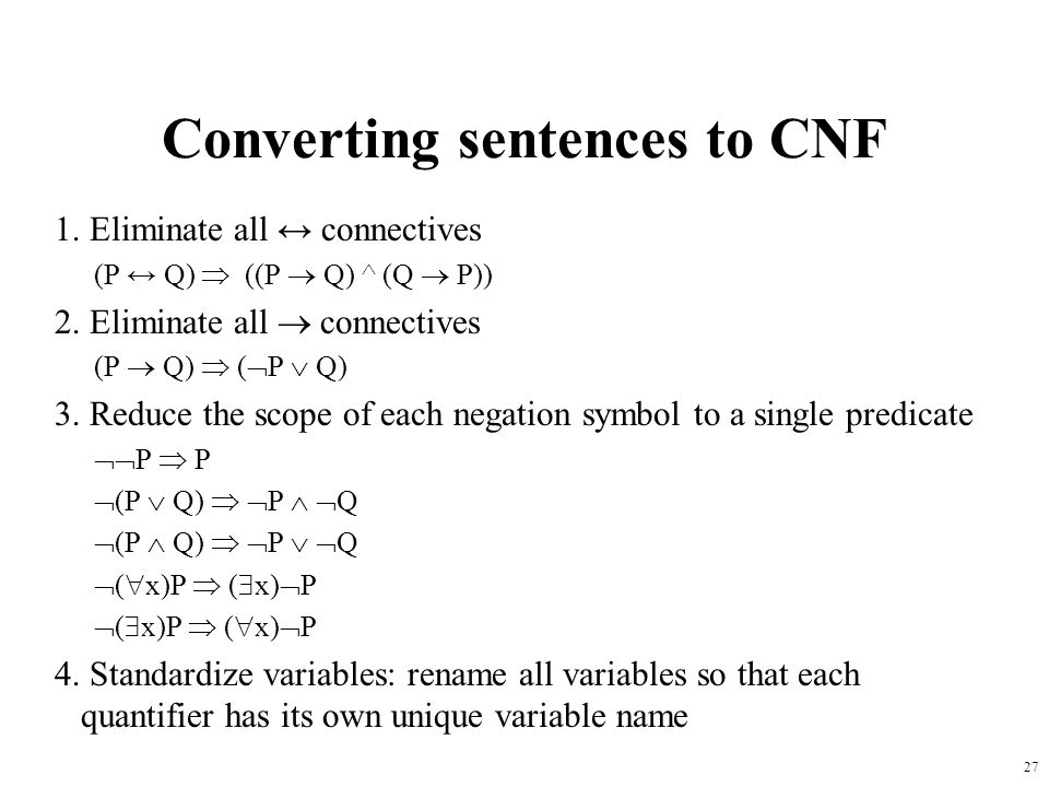 Converting sentences to CNF