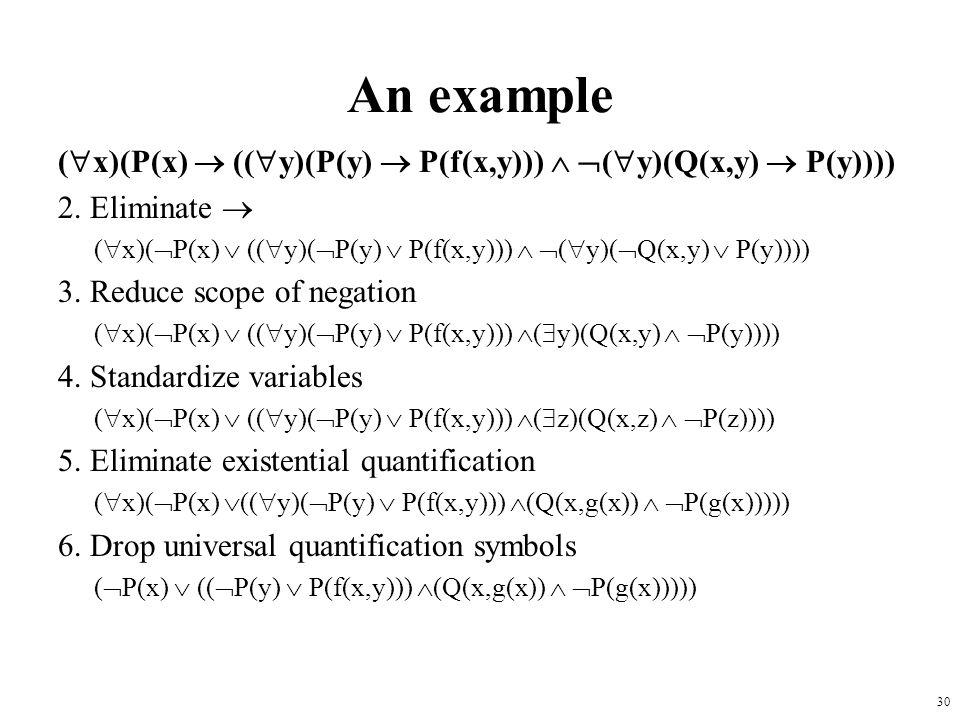 An example (x)(P(x)  ((y)(P(y)  P(f(x,y)))  (y)(Q(x,y)  P(y)))) 2. Eliminate 