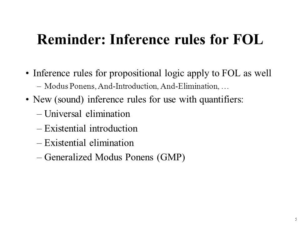 Reminder: Inference rules for FOL
