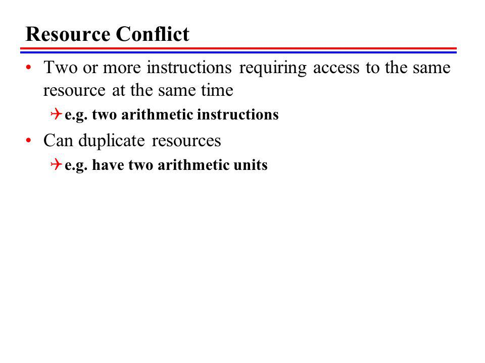 Resource Conflict Two or more instructions requiring access to the same resource at the same time. e.g. two arithmetic instructions.