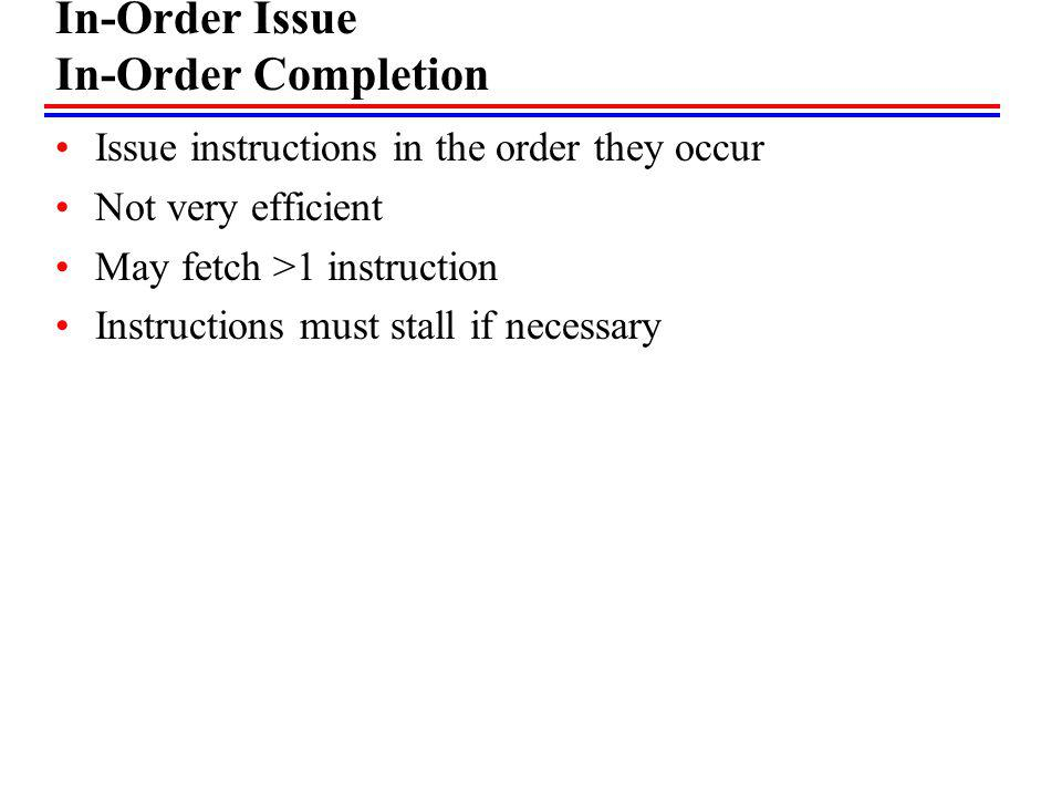 In-Order Issue In-Order Completion