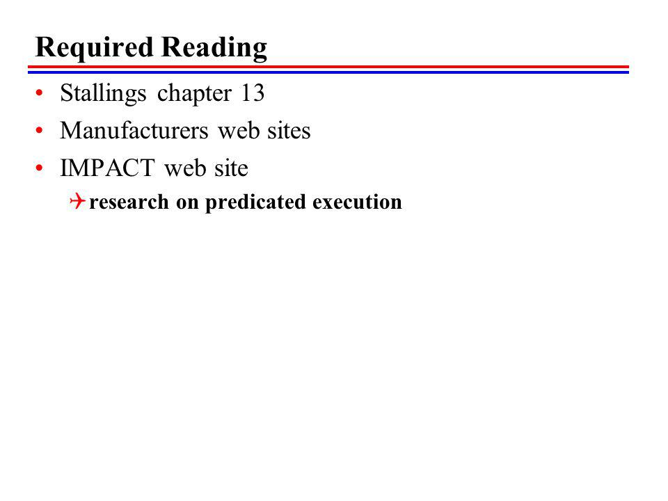 Required Reading Stallings chapter 13 Manufacturers web sites
