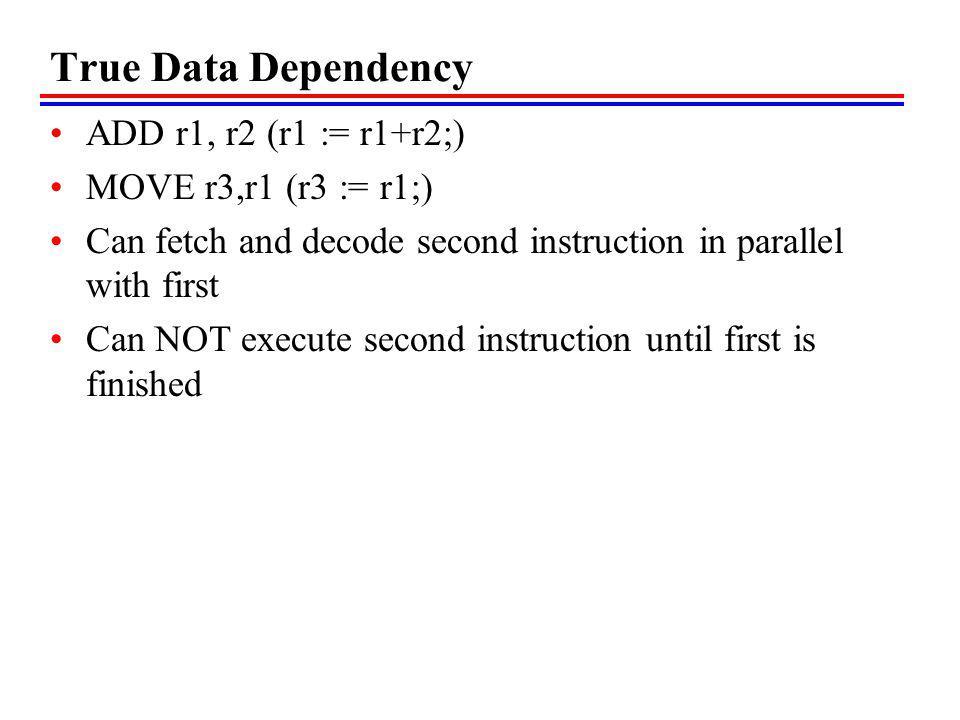 True Data Dependency ADD r1, r2 (r1 := r1+r2;) MOVE r3,r1 (r3 := r1;)