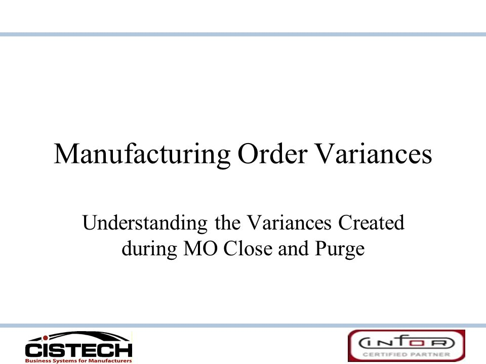 Manufacturing Order Variances